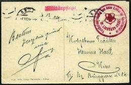 FELDPOST 1917, Ansichtskarte Mit Rotem L1 MILITÄRPLEFGE Und Rotem K1 VEREINSRESERVESPITAL VOM ROTEN KREUZ FÜR KRIEGSVERL - Austria