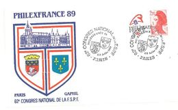 FDC 62ème Congrès FSPF Philex France 89 Paris 8 Et 9/07/1989 - FDC