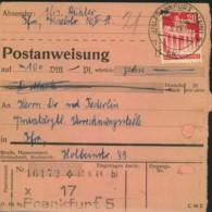 1953, Postanweisung Ab FRANKFURT (MAIN) Mit 20 Pfg. Bauten - Zone Anglo-Américaine
