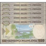 TWN - RWANDA NEW - 500 Francs 1.2.2019 DEALERS LOT X 5 - Prefix BC UNC - Ruanda