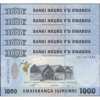 TWN - RWANDA NEW - 1000 1.000 Francs 1.2.2019 DEALERS LOT X 5 - Prefix CC UNC - Ruanda