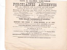 VENTE AUX ENCHERES A  DROUOT 1882 ,,,,, VENTE N. SALOMON D' AMSTERDAM ,,,,TRES BELLES PORCELAINES  ANCIENNES ,,,,,_ - Autres Collections