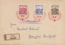 BÖHMEN Und MÄHREN 1941 - 3 Fach Frankierung Auf R-Brief Gel.v. PRAG > PRENZLAU - Brieven En Documenten