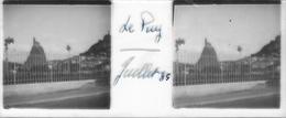 Plaque De Verre Stéréoscopique Positive - Année 1935 - Le Puy En Velay - Vue Sur Le Rocher Saint-Michel D'Aiguilhe - Plaques De Verre
