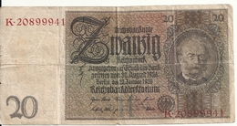 ALLEMAGNE 20 REICHMARK 1929 VF P 181 - [ 3] 1918-1933 : République De Weimar
