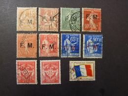 FRANCE, Année 1901-1946, Franchise Militaire, YT N° 1 à 13 Oblitérés (sans Les N°4-10-11) + N° 12 Neuf (cote 27 EUR) - Franchise Militaire (timbres)