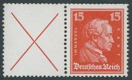 ZUSAMMENDRUCKE W 23 **, 1927, Kant X + 15, Oben Starke Heftchenzähnung, Postfrisch, Pracht, Mi. 250.- - Zusammendrucke