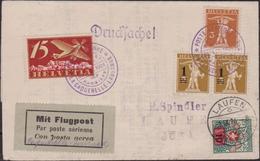 Svizzera Swiss - 661 – Lettera Di Posta Aerea Del 31.12.24 Da La Caquerelle Per Lousanne, Doppio Cerchi Violetto Su Let - Storia Postale