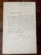 """"""" Edmond De GONCOURT ( 1822 - 1896 ) """" Lettre Manuscrite 1887 Avec Signature Autographe - Ecrivain Et Fondateur Académie - Autographs"""