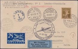 Svizzera Swiss - 666 – 4-9-1928 – Volo Speciale Notturno, Ginevra / Amsterdam / Londra / Stoccolma, Affrancata Con P.a. - Storia Postale