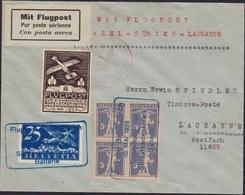 Svizzera Swiss - 668 – Lettera Di Posta Aerea Del 10.5.35 Basile-Zurigo, Affrancata Con Blocco Di Quattro Del 5 C. N. 19 - Storia Postale