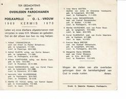Poelkapelle 1969 Kermis 1970 Gedachtenis Overleden Parochianen O.-L.-Vrouw - Décès