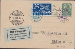 """Svizzera Swiss - 669 – Doppio Cerchio Azzurro """"Flugpost Laufen-Surich"""", Su Cartolina Postale Da 10 C. Con Affrancatura C - Storia Postale"""