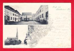 E-Allemagne-513P118  Litho, Gruss Aus MULLHEIM I. B. Petites Vues De La Ville, Cpa Précurseur BE - Muellheim