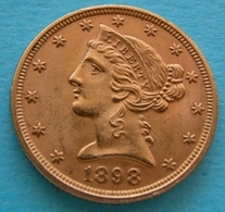 "STATI UNITI  5  Dollari 1898  Gold Oro   ""Testa Coronata"" - 5$ - Half Eagles - 1866-1908: Coronet Head (Testa Coronata)"