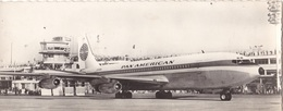 """TRANSPORTS. RARETÉ. VUE PANORAMIQUE.  AEROPORT DE PARIS. AVION AU SOL """" BOEING 707""""  DE LA Cie P.A.A. ANNÉES 50 - 1946-....: Ere Moderne"""