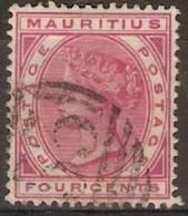 Mauritius - 1885 Queen Victoria 4c Rose Used  SG 105 - Mauritius (1968-...)