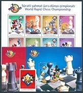 Azerbaidjan (1998) Yv. 374/82 + Bf. 42/43  /  Chess - Echecs - Ajedrez - Schach - Disney - Chess