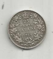 Monnaie , CANADA , 25 Cents ,1914 ,argent , GEORGIUS V,2 Scans - Canada