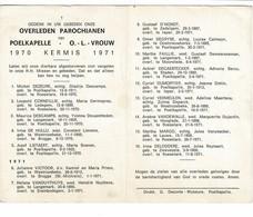 Poelkapelle 1970 Kermis 1971 Gedachtenis Overleden Parochianen O.-L.-Vrouw - Décès