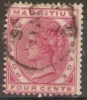 Mauritius - 1885 Queen Victoria 4c Deep Rose Used  SG 105 - Mauritius (1968-...)