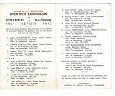Poelkapelle 1971 Kermis 1972 Gedachtenis Overleden Parochianen O.-L.-Vrouw - Décès