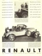 "PUB RENAULT  ""  VIVASTELLA  6 Cylindres ""    1930 ( 11) - Voitures"