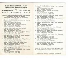 Poelkapelle 1972 Kermis 1973 Gedachtenis Overleden Parochianen O.-L.-Vrouw - Décès