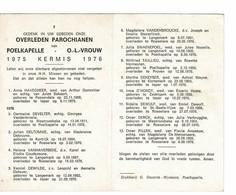 Poelkapelle 1975 Kermis 1976 Gedachtenis Overleden Parochianen O.-L.-Vrouw - Décès