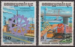 Industrie Nationale - KAMPUCHEA - Transports, Locomotive, Pont - N° 433-435 - 1983 - Kampuchea