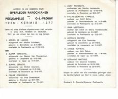Poelkapelle 1976 Kermis 1977 Gedachtenis Overleden Parochianen O.-L.-Vrouw - Décès