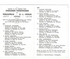 Poelkapelle 1977 Kermis 1978 Gedachtenis Overleden Parochianen O.-L.-Vrouw - Décès