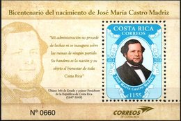 Costa Rica 2018 ** BF Bicentenario De José María Castro Madriz. Fundador De La República. - Costa Rica