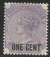 Mauritius - 1891 Queen Victoria 1c/1c  MH *  SG 123 - Mauritius (1968-...)