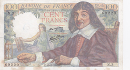 Billet De 100 Francs (DESCARTES) - Type 1942. - 1871-1952 Circulated During XXth