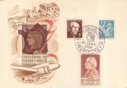 CARTE CENTENAIRE DU TIMBRE POSTE FRANCAIS 1949 - Cartoline Maximum