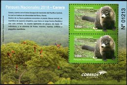 Costa Rica 2018 ** BF 2 Sellos Carara. Fauna Y Flora. Pizote: Coatí De Nariz Blanca (Nasua Narica), Guacamaya Roja. - Costa Rica