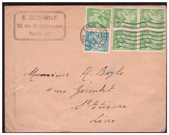 Bloc De 4 Du N° 649 + 1 +650  Sur Lettre De PARIS Pour St ETIENNE Du  27.9.51. - France