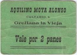 España - Spain Vale Por 2 Panes Orellana La Vieja (Badajoz) Ref 3060-3 - [ 3] 1936-1975 : Régimen De Franco