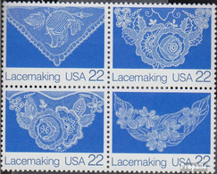 USA 1936-1939 Viererblock (kompl.Ausg.) Postfrisch 1987 Amerikanische Volkskunst - Vereinigte Staaten