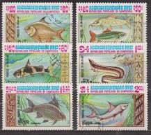 Faune Aquatique - KAMPUCHEA - Poissons: Cyprinidé, Truite, Silure, Murène - N° 426 à 431 - 1983 - Kampuchea