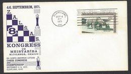 Chess, USA Cleveland, 04.09.1971, Special Commemorative Envelope Latvian Congress & Championship - Echecs