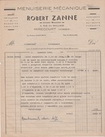 Facture Robert ZANNE / Menuiserie / 88 Mirecourt Vosges - 1939-45