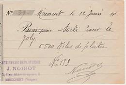 Petit Reçu 1910 ? / NOIROT / Plâtrerie / 88 Mirecourt Vosges - 1939-45