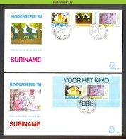 Mel128b  KIND CHILDREN HELPING SURINAME 1988 FDC'S 128, 128A - Suriname