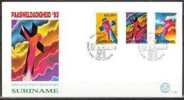 Mel165b PASEN PAASWELDADIGHEID EASTER OSTERN SURINAME 1993 FDC - Pasen
