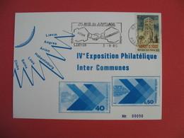 Carte 1985 Cachet Pas De Calais  IV ème Exposition Philatélique Inter Communes 25 Ans De Jumelage - Expositions