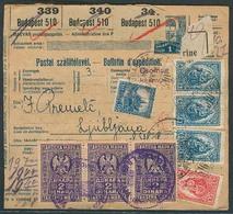 SLOVENIA. 1916 (7 April). Budapest - Slovenia. Reg Hungarian Packet Multifkd Stat Receipt + Arrival 6d Tax Stamps Tied. - Slovénie