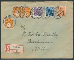 DENMARK. 1925 (21 April). Aarhus - Malta (26 April). Reg Multifkd Env. Ovptd Issue 55 Ore Rate. VF. - Danemark