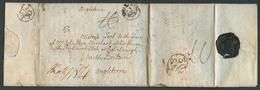 "FRANCE. 1774 (5 Sept). Near Bordeaux - UK / Scotland. EL Full Text, Black Post/Paid In English Pmk + 10 + ""Sept 30"" Twic - France"